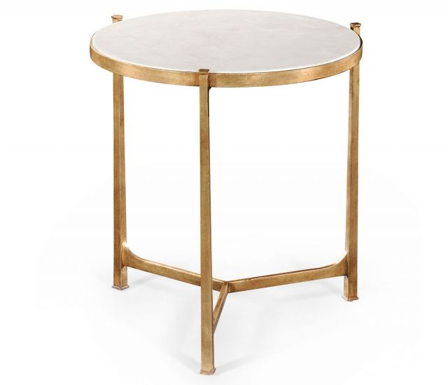 Jonathan Charles Large Round Lamp Table Contemporary in Ivory Scagliola