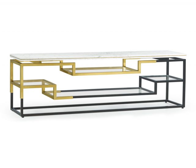 Jonathan Charles Low Console Table Multi-Tier