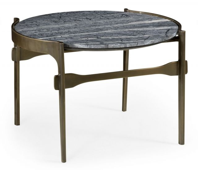 Jonathan Charles Outdoor Round Coffee Table with Grey Marble Top
