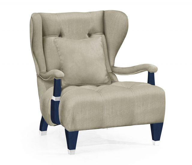 Jonathan Charles Wing Chair Doha in Antique Blue