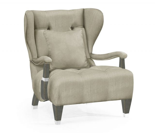 Jonathan Charles Wing Chair Doha in Pewter Oak