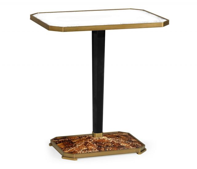 Jonathan Charles Rectangular Side Table with Brass Detailing