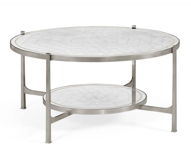 Jonathan Charles Round Coffee Table Contemporary in Eglomise