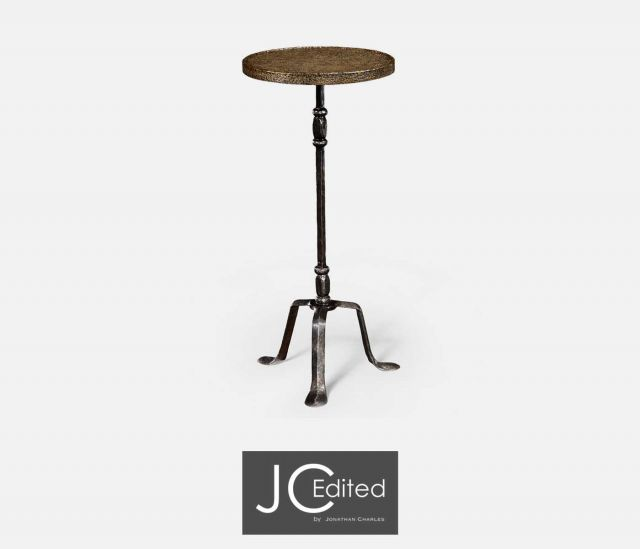 Jonathan Charles Round Lamp Table Industrial