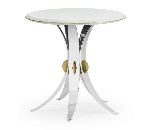 Jonathan Charles Round End Table Arched Stainless Steel