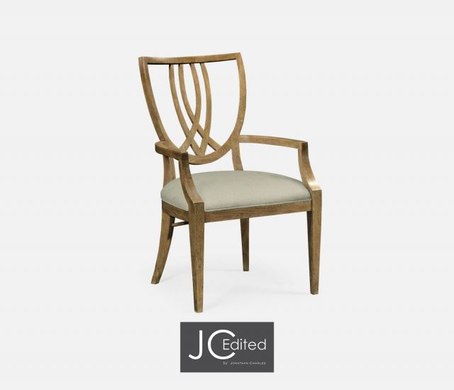 Jonathan Charles Dining Chair with Arms English Shield Back in Mazo