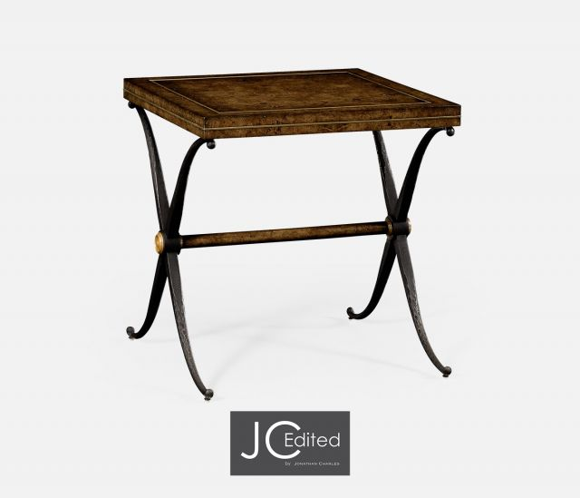 Jonathan Charles Side Table Industrial with X-frame
