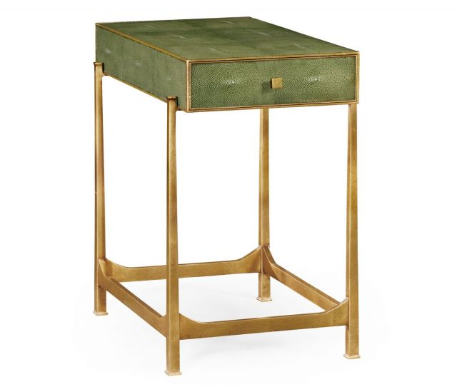 Jonathan Charles Side Table with Drawer Contemporary in Green Faux Shagreen
