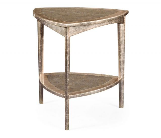 Jonathan Charles Triangular Side Table Silver Espresso