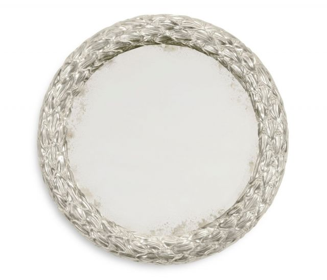 Jonathan Charles Small Round Mirror Water Gilded