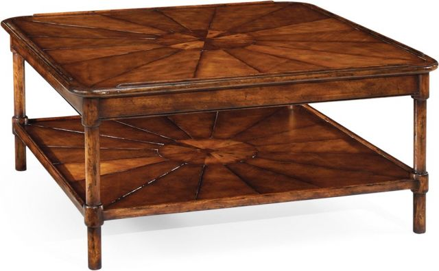 Jonathan Charles Square Coffee Table Rustic Walnut