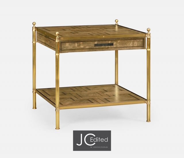 Jonathan Charles Square Lamp Table with Drawer English