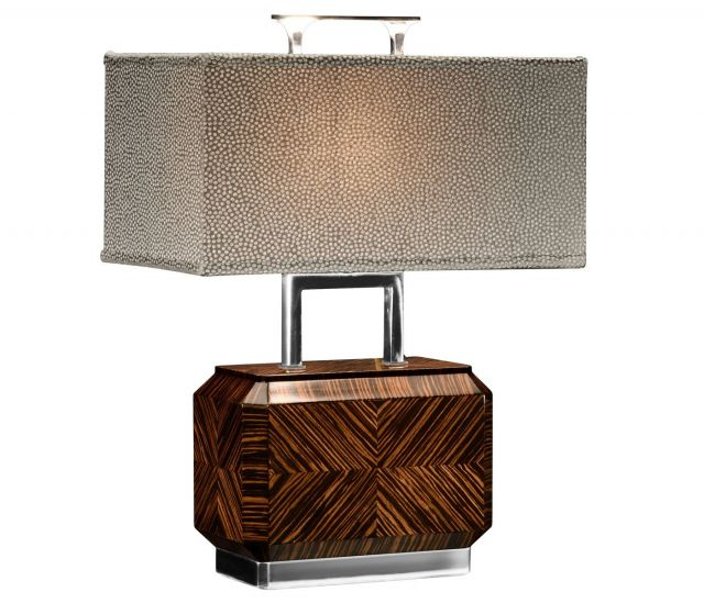 Jonathan Charles Table Lamp Chinese Tea Caddy in Macassar Ebony