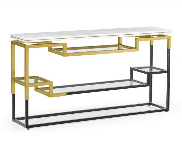 Jonathan Charles Narrow Console Table Multi-Tier