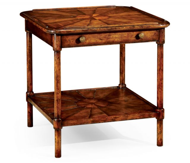 Jonathan Charles Two-Tier Side Table Rustic Walnut