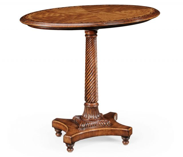 Jonathan Charles Oval Lamp Table Marquetry