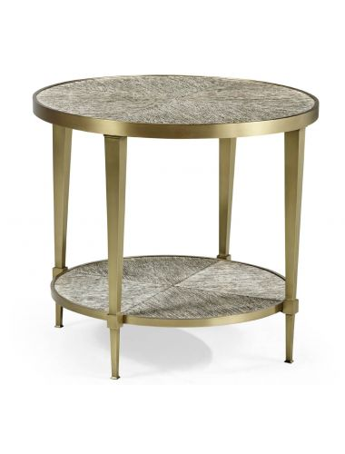 Geometric Transitional Round End Table | Jonathan Charles Furniture