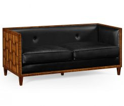 Jonathan Charles Small Sofa Mid Century in Black Leather