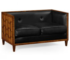 Jonathan Charles Extra Small Sofa Mid Century in Black Leather