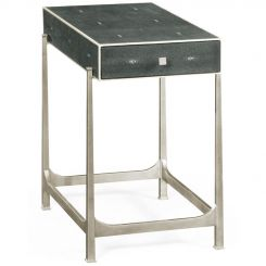 Jonathan Charles Side Table with Drawer Contemporary in Anthracite Shagreen - Silver