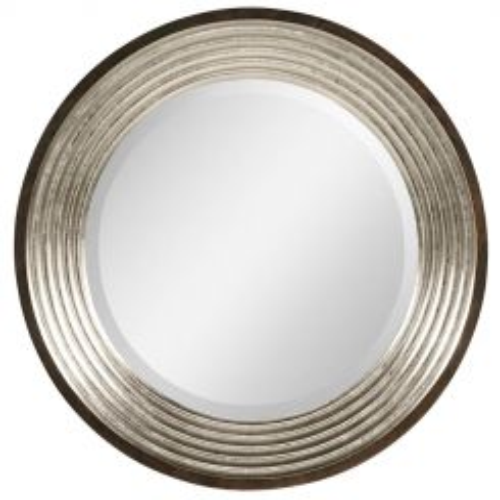 Jonathan Charles Silver Espresso Round Wall Mirror