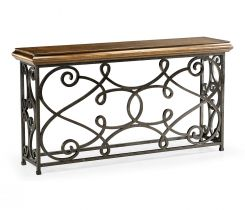 Jonathan Charles Golden Ale Wrought Iron Large Console Table