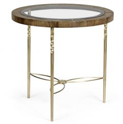 Jonathan Charles Round Bleached Mahogany Side Table Glass Top
