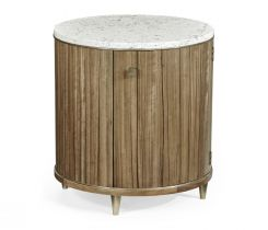 Jonathan Charles Golden Amber Drum Table with Marble Top