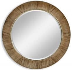 Jonathan Charles Golden Amber & Brass Round Wall Mirror - Small