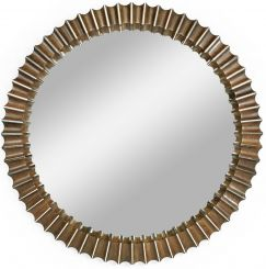 Jonathan Charles Reeded Grey Walnut Round Wall Mirror