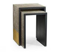 Jonathan Charles Etched Brass Nesting Side Tables