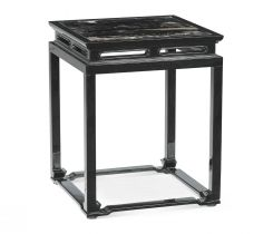 Jonathan Charles Smoky Square End Table with Marble Top
