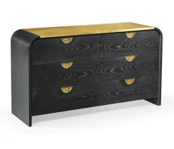 Jonathan Charles Ebonised Oak Curved Dresser with 6 Drawers