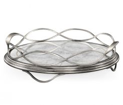 Jonathan Charles Round Tray Interlaced in Eglomise