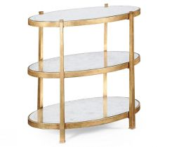 Jonathan Charles Small Oval Side Table Contemporary Three-tier