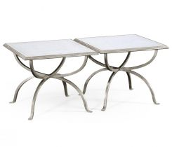 Jonathan Charles Coffee Table Contemporary Set of 2 - Silver