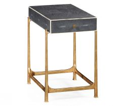 Jonathan Charles Side Table with Drawer Contemporary in Anthracite Shagreen
