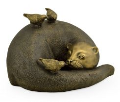 Jonathan Charles Otter Figurine in Antique Brass