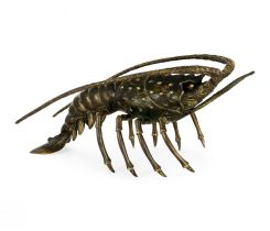 Jonathan Charles Langoustine Lobster Figurine in Antique Bronze
