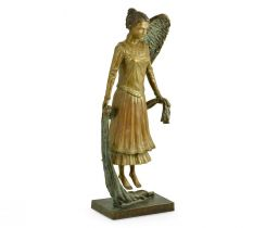 Jonathan Charles Hovering Angel on Base in Antique Brass