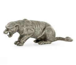 Jonathan Charles Panther Figurine in White Brass