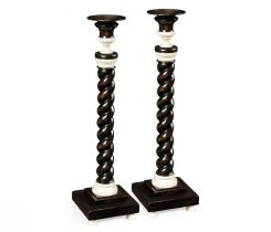 Jonathan Charles Candlesticks Pair of Twist Charcoal & Faux Bone