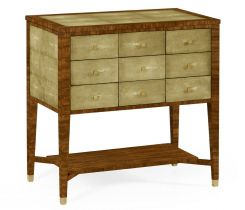 Jonathan Charles Chest of 9 Drawers Ivory Faux Shagreen
