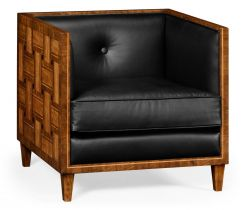 Jonathan Charles Club Chair Mid Century in Black Leather