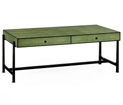 Jonathan Charles Coffee Table 1930s in Green Faux Shagreen