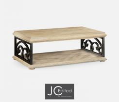 Jonathan Charles Coffee Table with Wrought Iron Base