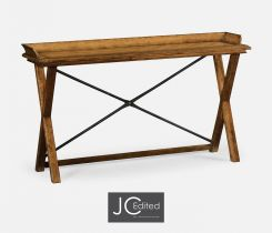 Jonathan Charles Narrow Console Table in Brown Chestnut