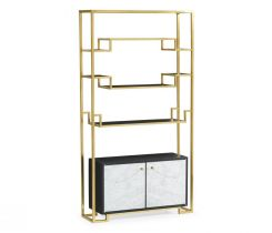 Jonathan Charles Etagere with Base Cabinet in Brass