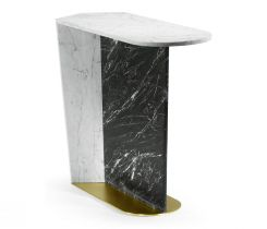 Jonathan Charles Supper Table White & Black Marble