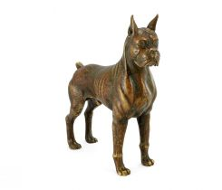 Jonathan Charles Boxer Dog Figurine in Copper Finish